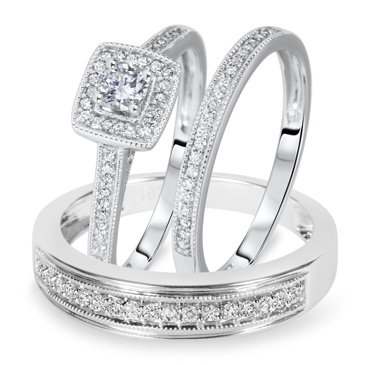 12 carat tw round cut diamond matching trio wedding ring set 10k white gold my trio rings bt572w10k - Wedding Ring Trio Sets