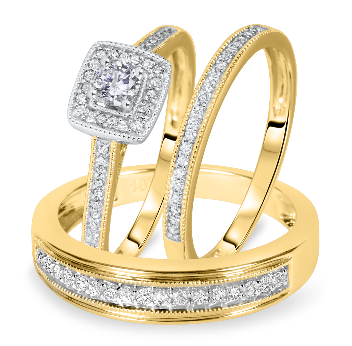 wedding rings with engraved trio wedding ring sets yellow