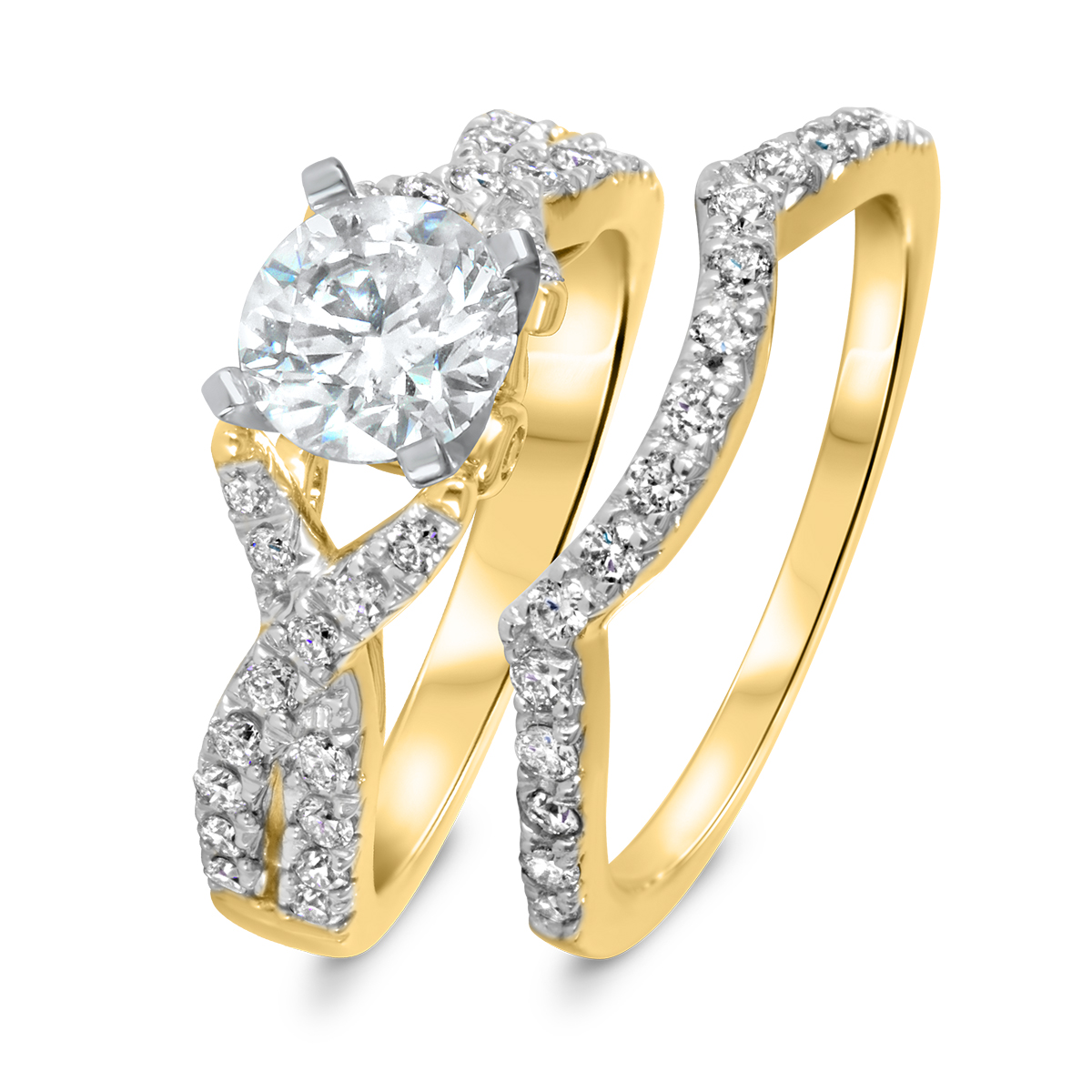 1 3 4 CT T W Diamond Women s Bridal Wedding Ring Set 14K Yellow Gold
