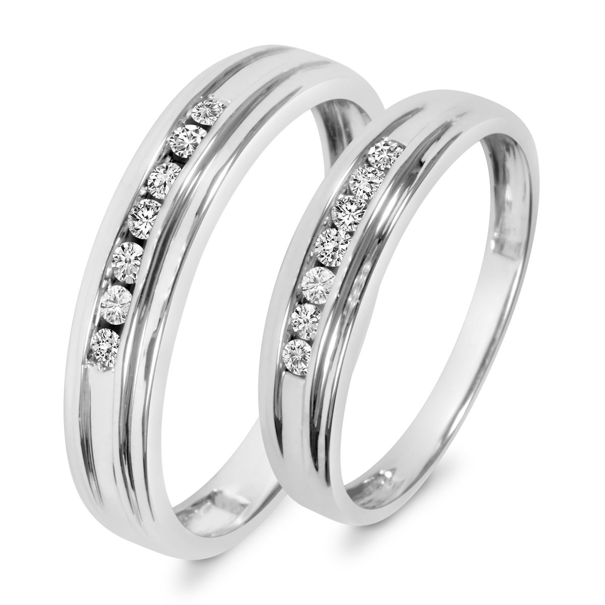 1 3 CT T W Diamond His And Hers Wedding Band Set 10K White Gold