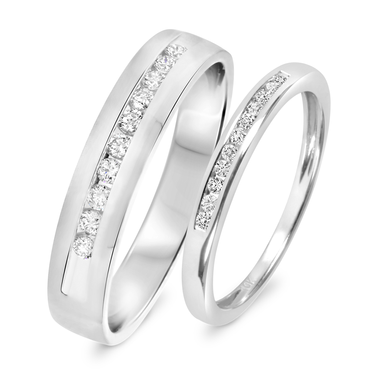1 3 CT TW Diamond His And Hers Wedding Band Set 14K White Gold