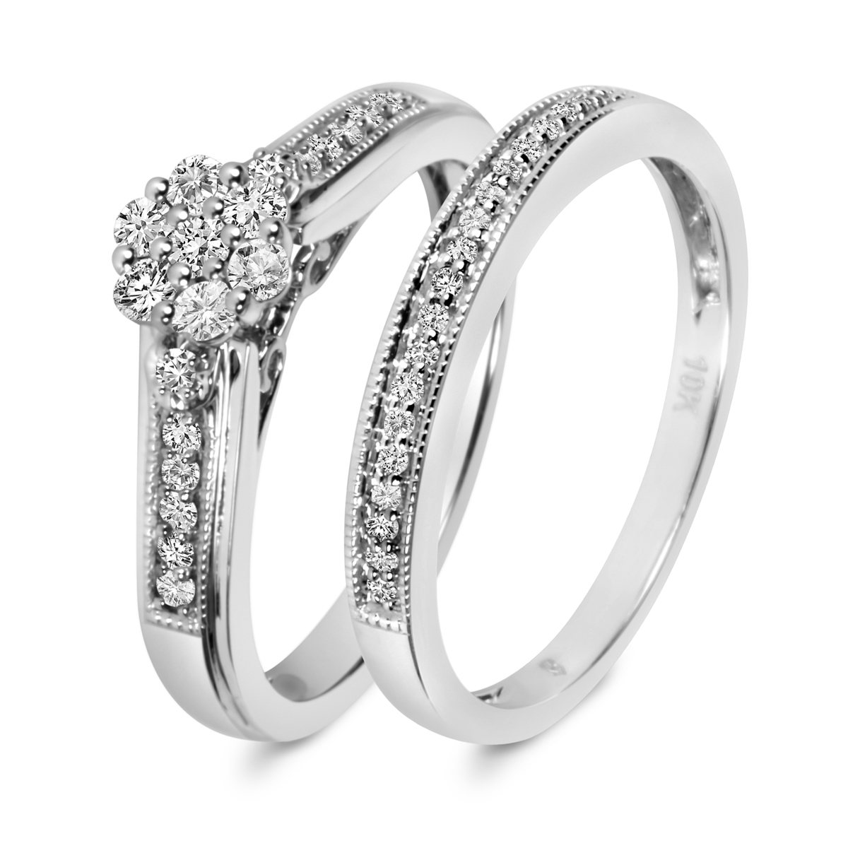 1 1 3 ct tw diamond ladies bridal wedding ring set 10k for Ladies diamond wedding ring sets