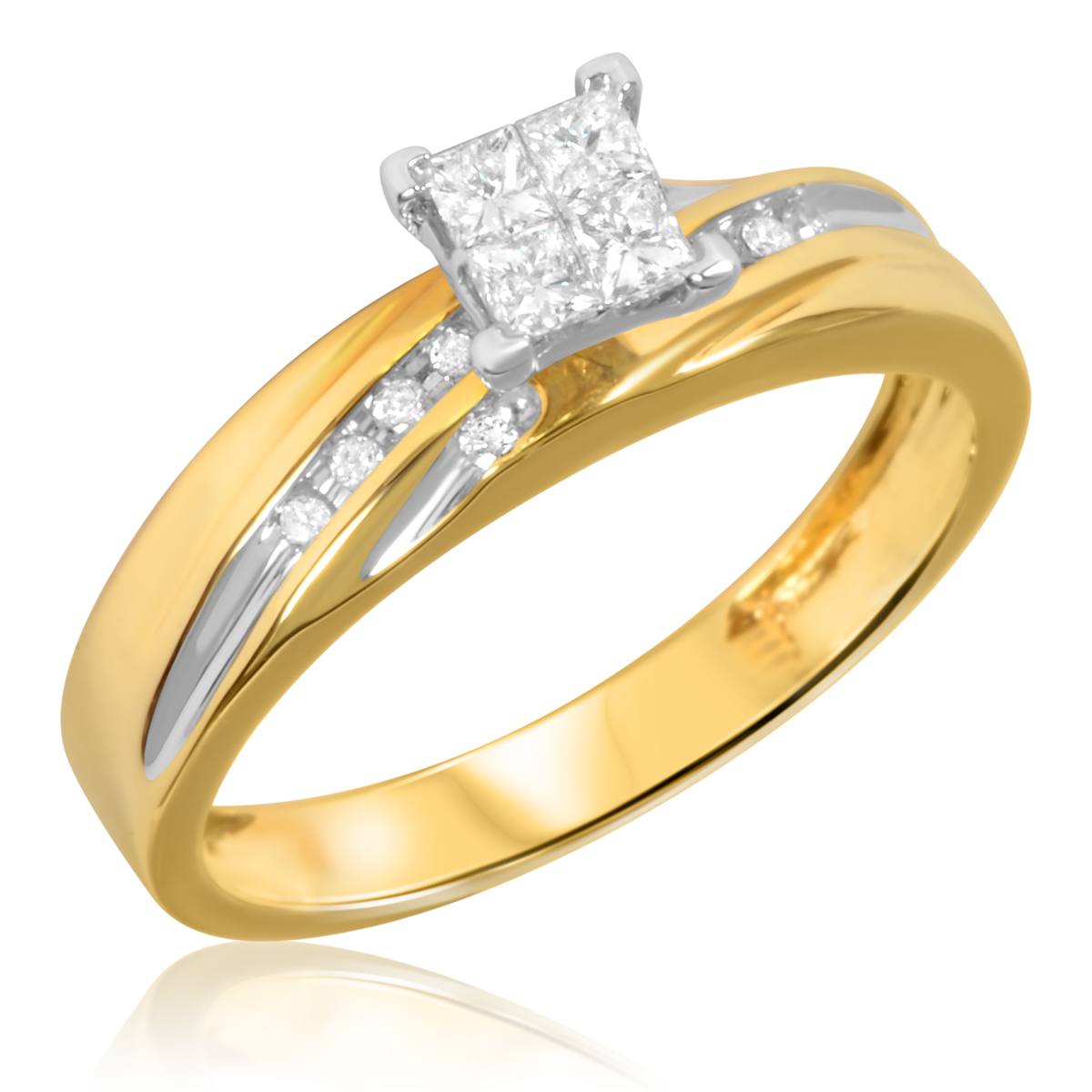 1 2 Carat TW Diamond Trio Matching Wedding Ring Set 14K Yellow Gold