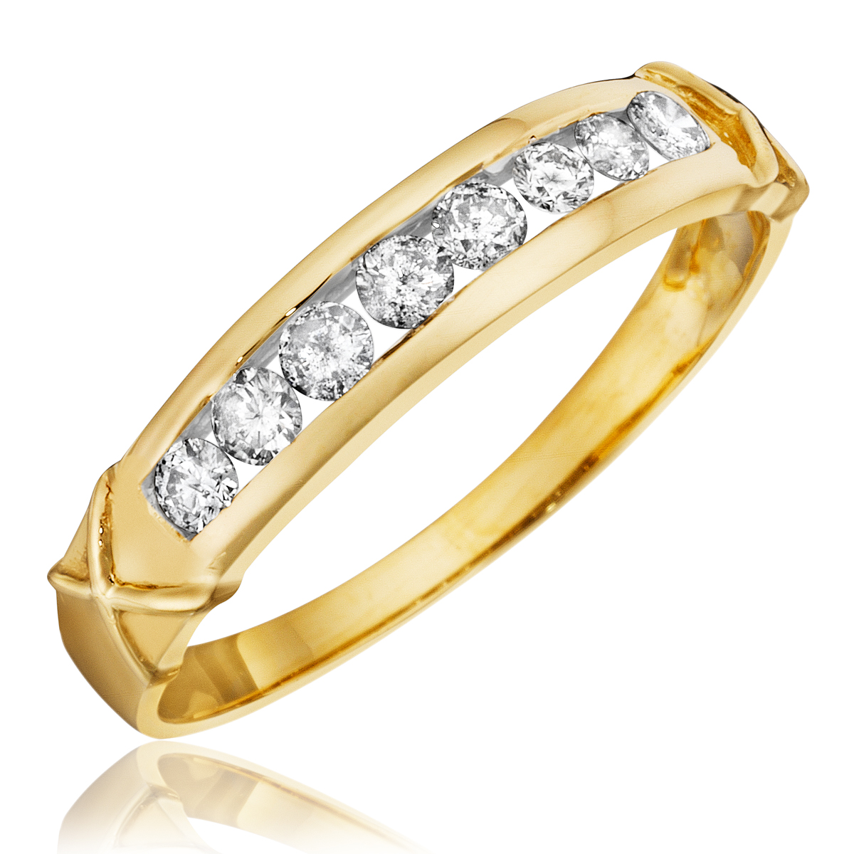 1 3 CT T W Diamond Women s Wedding Band 14K Yellow Gold