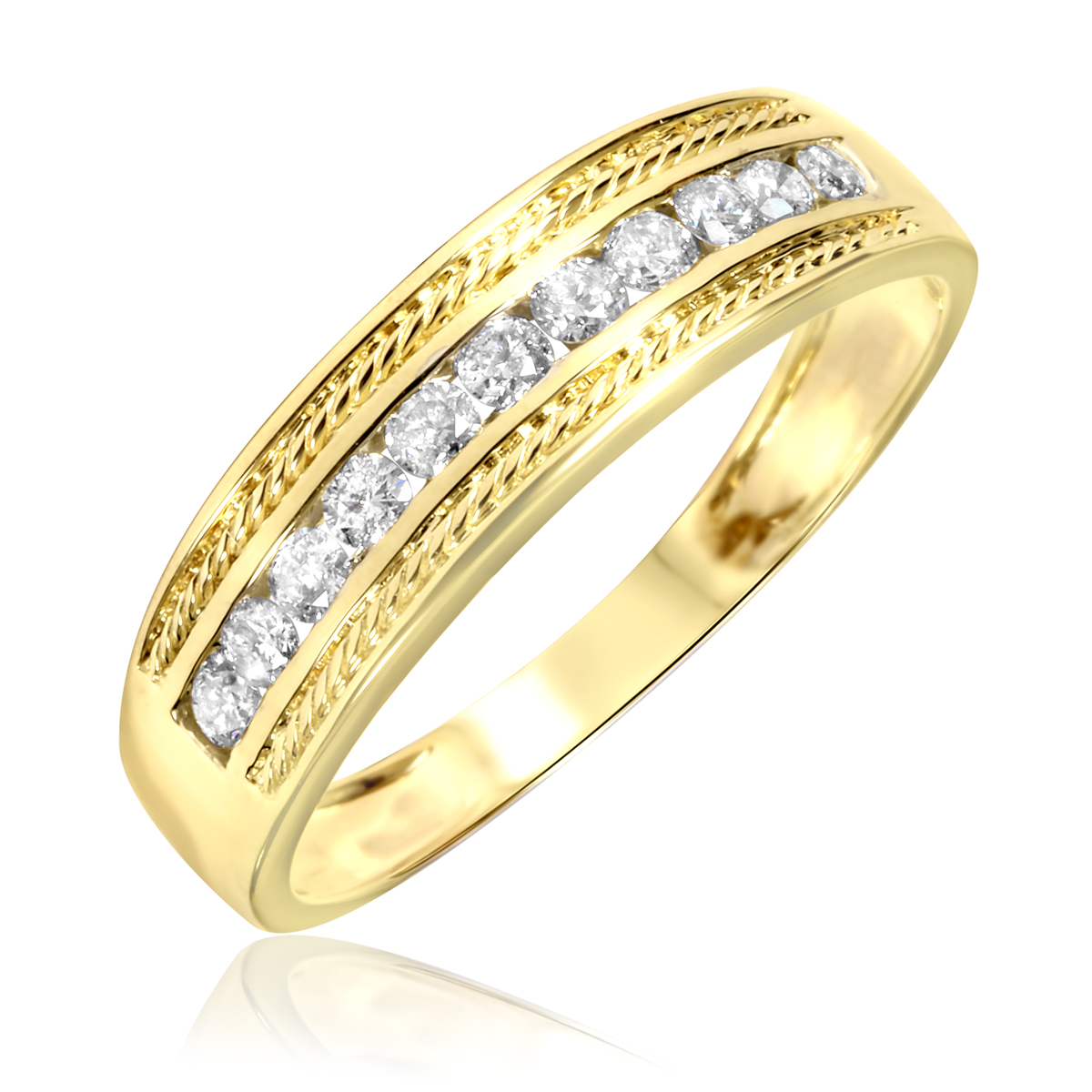 tw diamond ladies engagement ring wedding band mens wedding band matching set 10k yellow gold my trio rings bt150y10k p050 - Gold Wedding Rings For Men