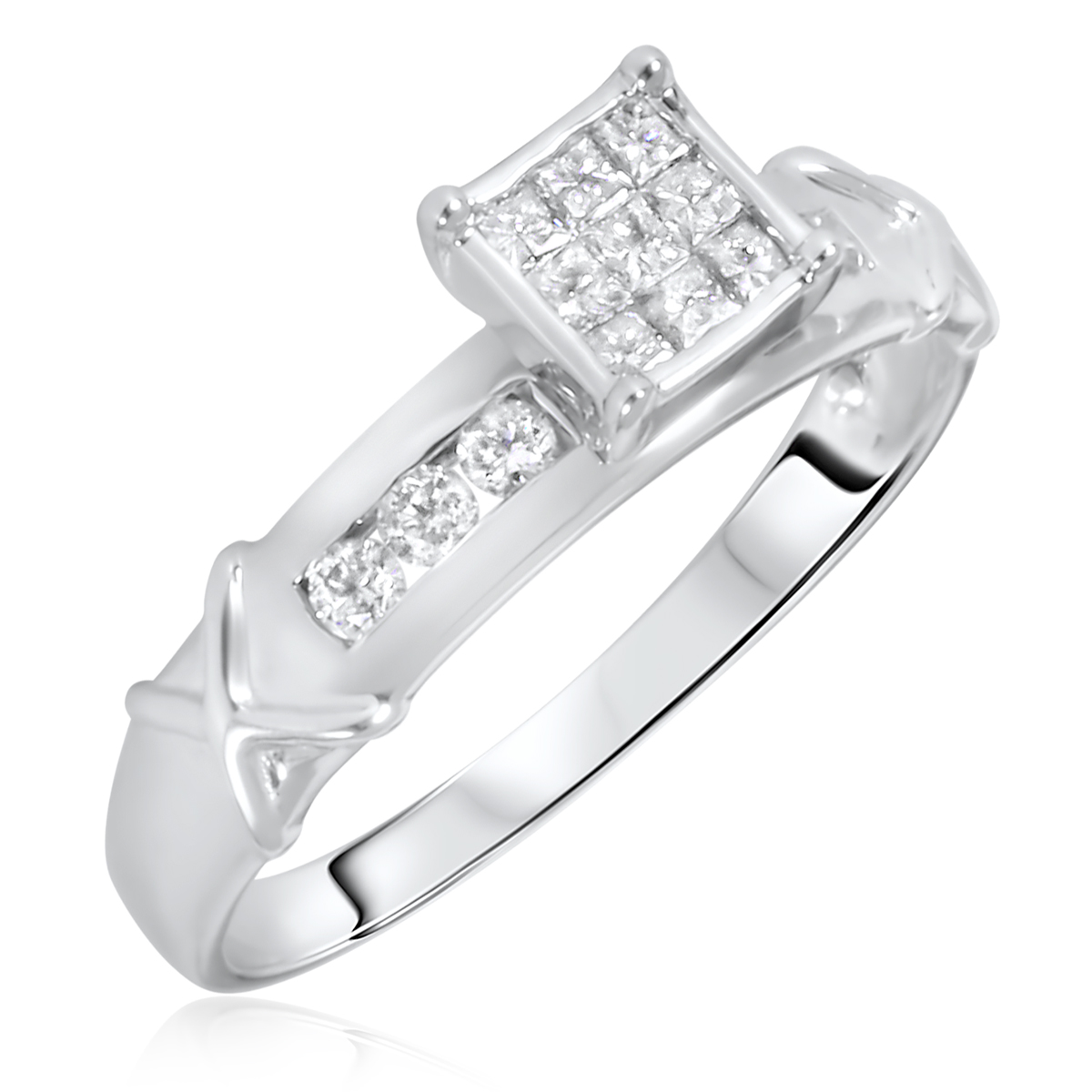 Women39;s Engagement Ring 14K White Gold  My Trio Rings  BT110W14KE