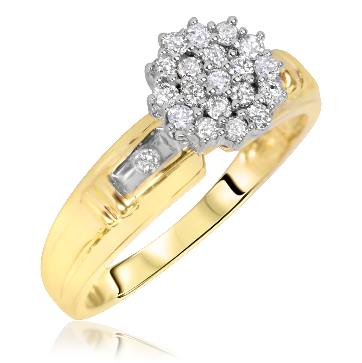 1 3 Carat TW Diamond Womens Engagement Ring 14K Yellow Gold