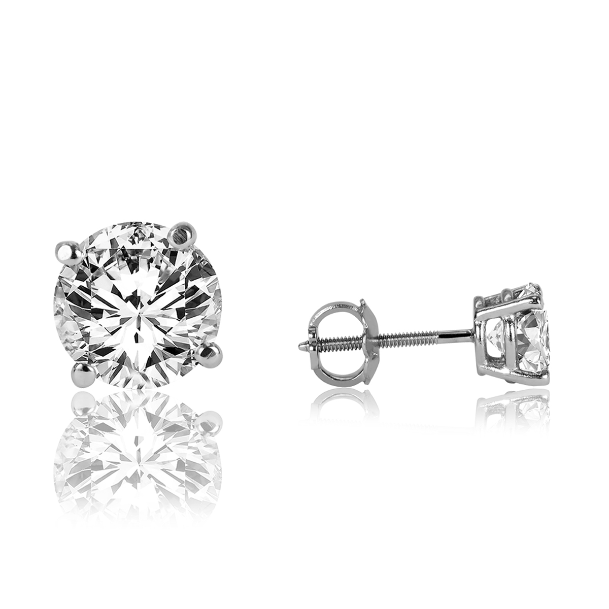 3 Carat Tw Round Cut Solitaire Diamond Stud Earrings 14k White Gold