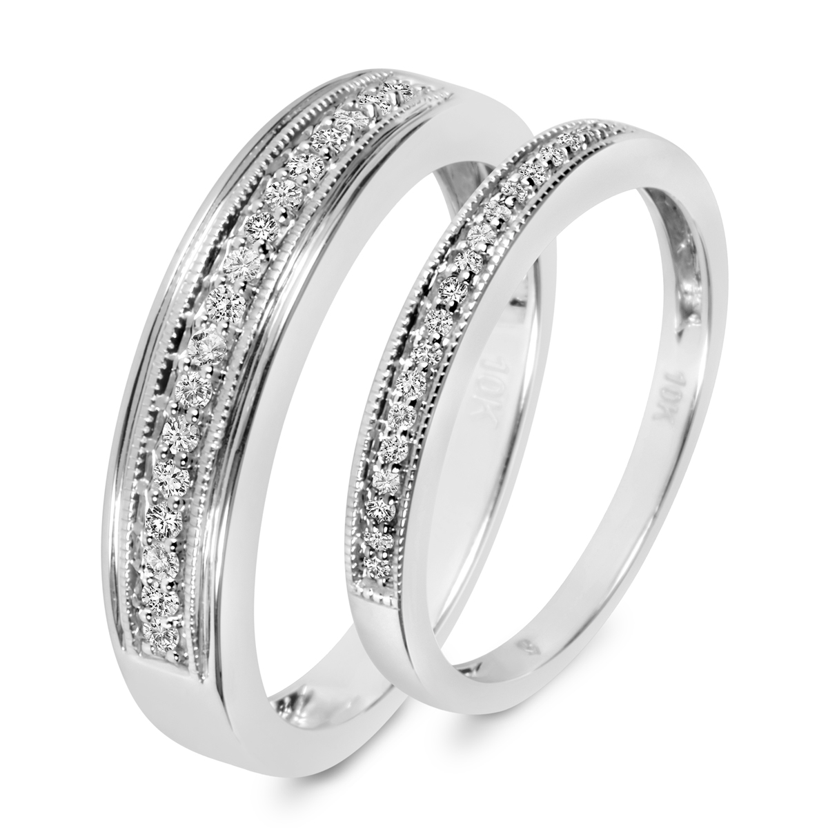 T W Diamond His And Hers Wedding Band Set 10k White Gold My Trio Rings Wb529w10k