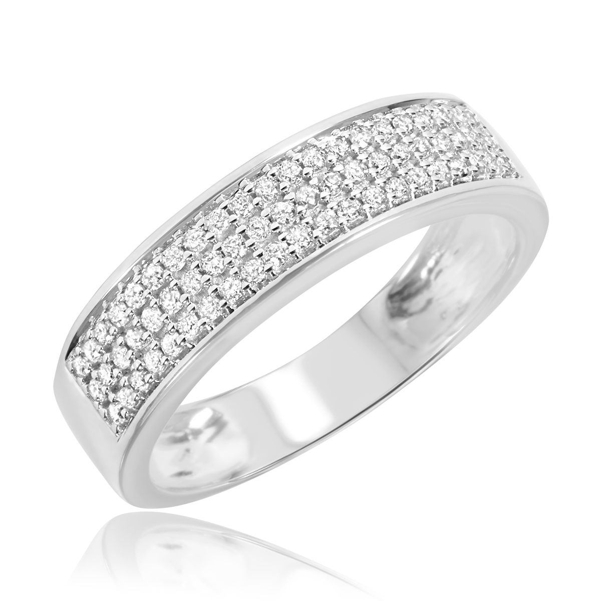 1 4 CT TW Diamond Mens Wedding Band 14K White Gold