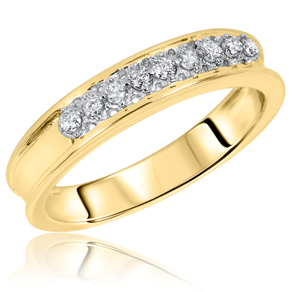 14 CT TW Diamond Mens Wedding Band 14K Yellow Gold My Trio