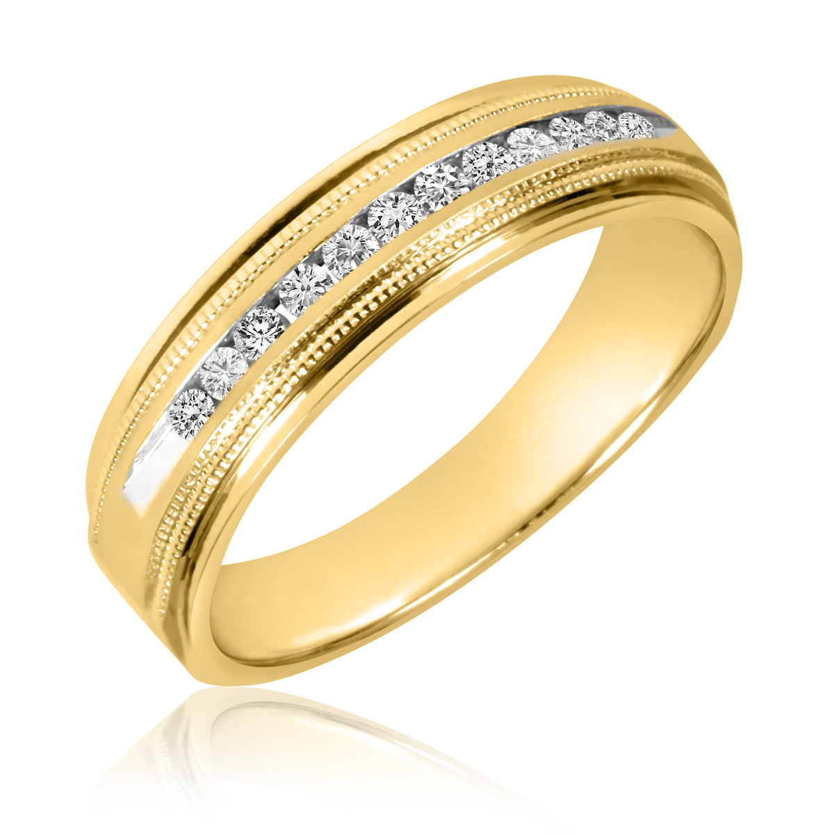 1 4 CT TW Diamond Mens Wedding Band 14K Yellow Gold