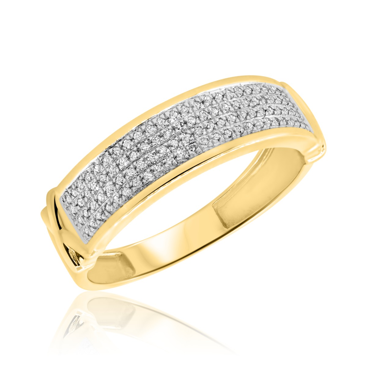 1 4 ct t w diamond mens wedding band 10k yellow gold for Men s 1 carat diamond wedding bands