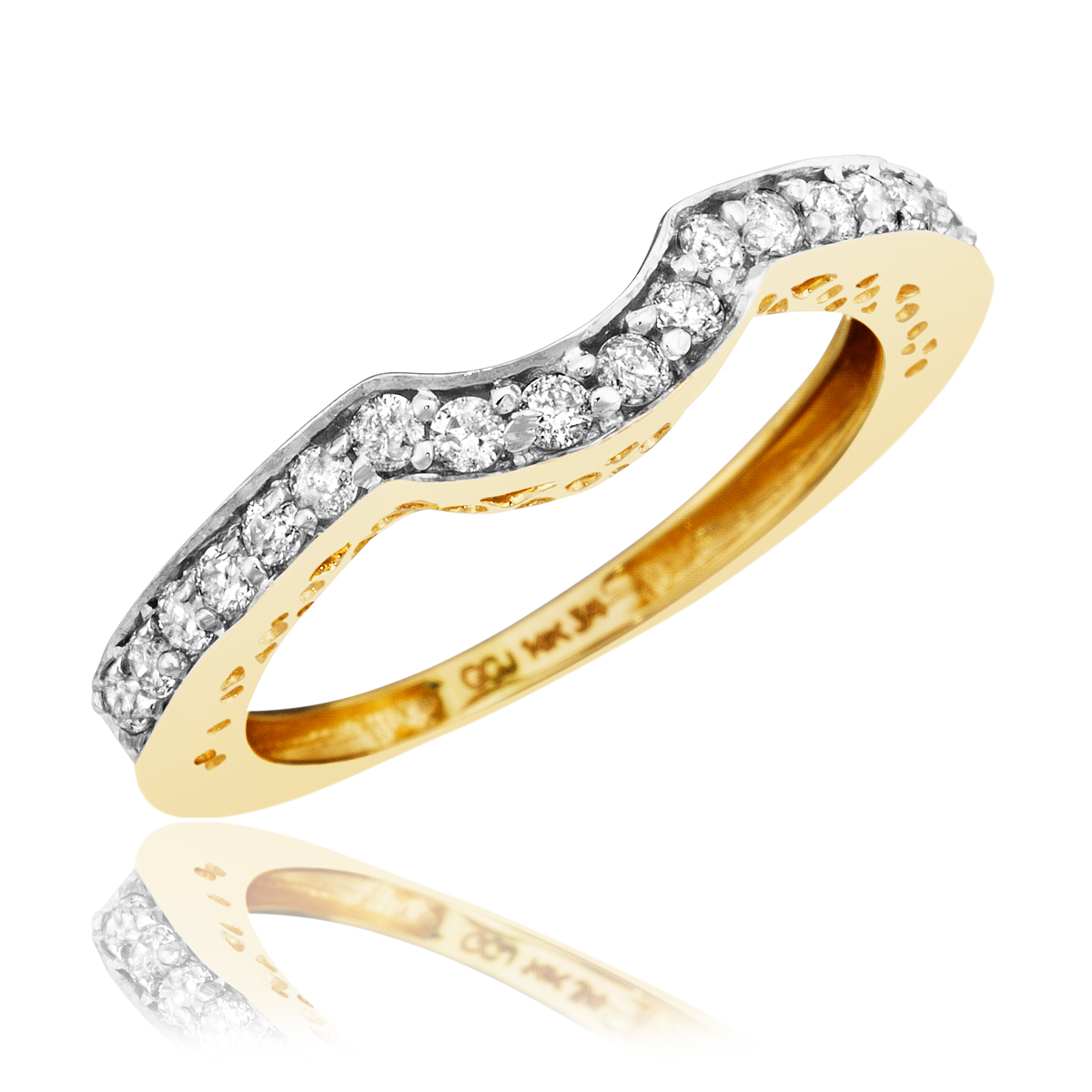 1 4 ct t w s wedding band 14k yellow gold