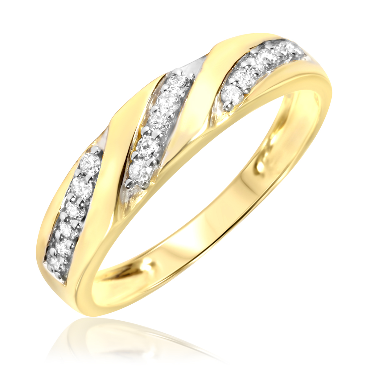1 Carat Diamond Trio Wedding Ring Set 10K Yellow Gold My Trio Rings