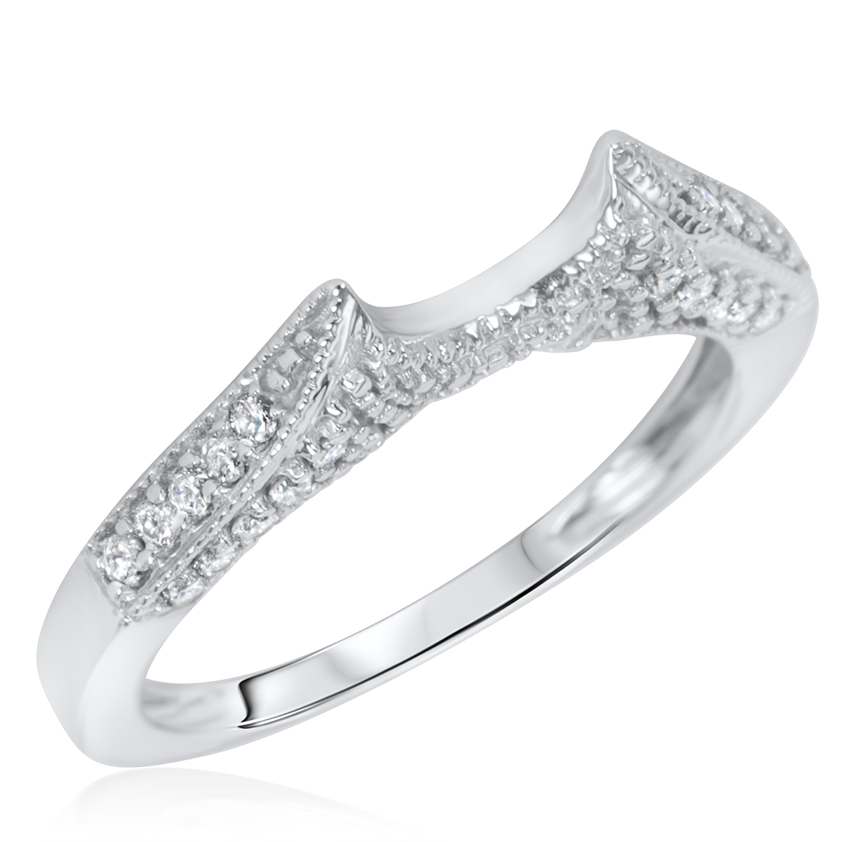Women39;s Wedding Ring 10K White Gold  My Trio Rings  BT103W10KL