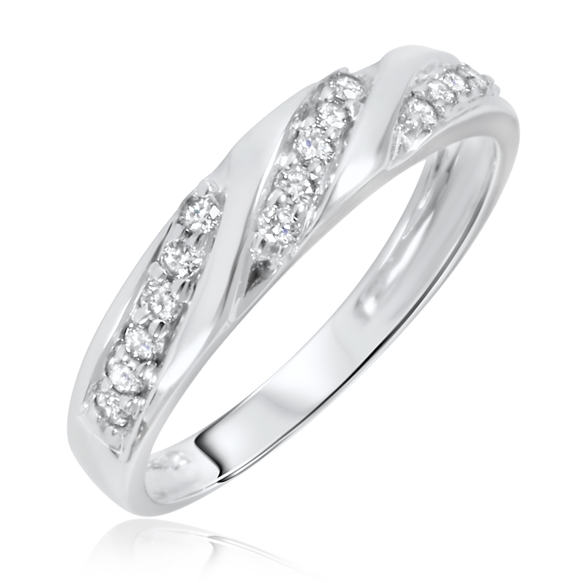 1 carat diamond trio wedding ring set 10k white gold my trio rings bt168w10k - Elegant Wedding Rings