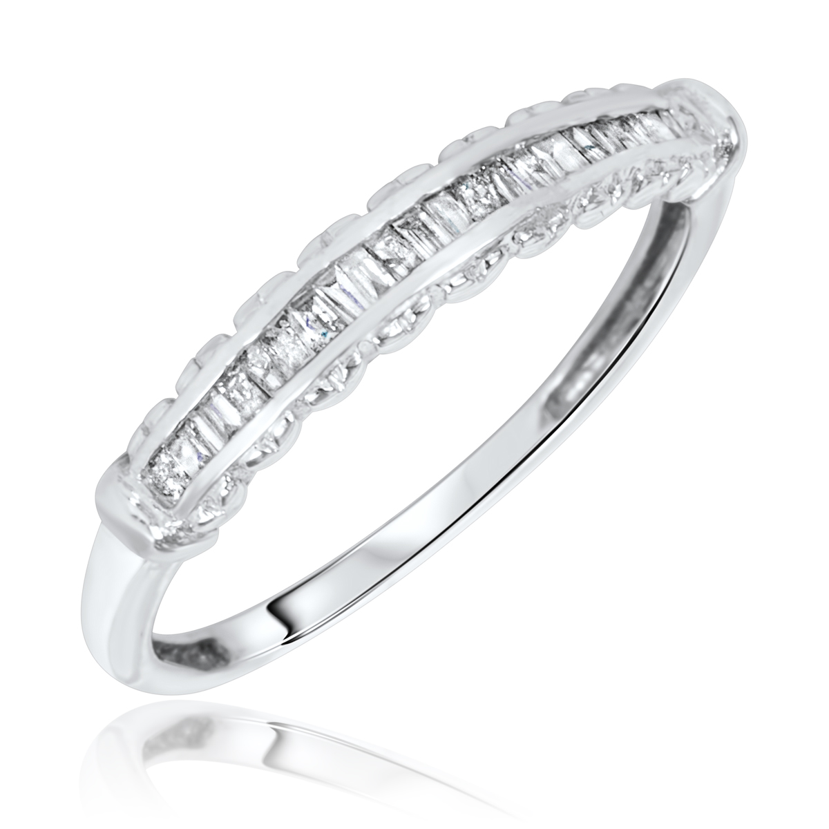Women39;s Wedding Ring 14K White Gold  My Trio Rings  BT129W14KL