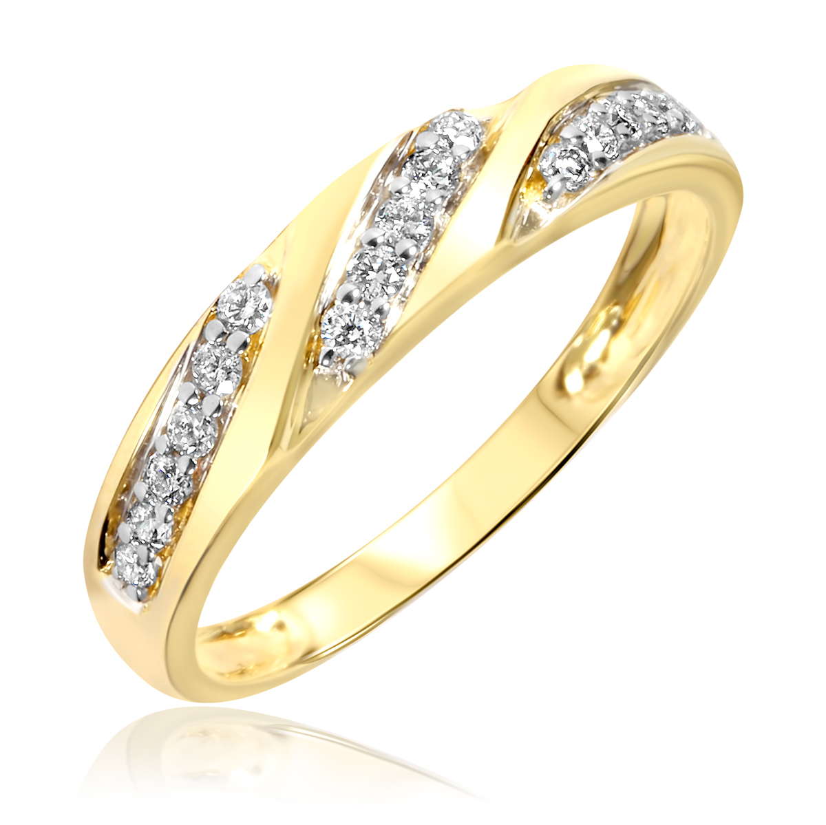 1 4 carat t w diamond women 39 s wedding ring 14k yellow gold my trio rings bt168y14kl. Black Bedroom Furniture Sets. Home Design Ideas