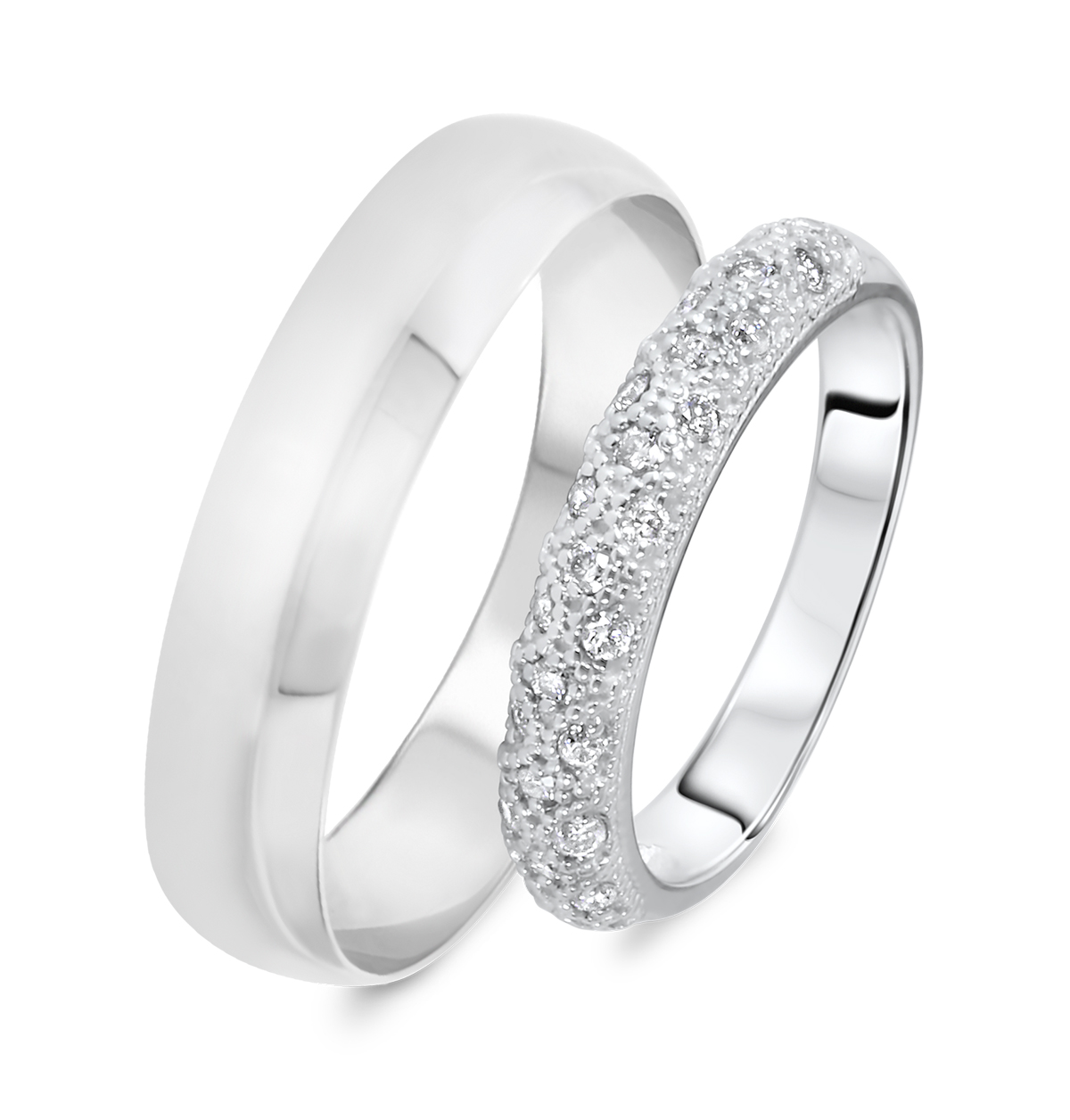 74 wedding band sets his and hers white gold his