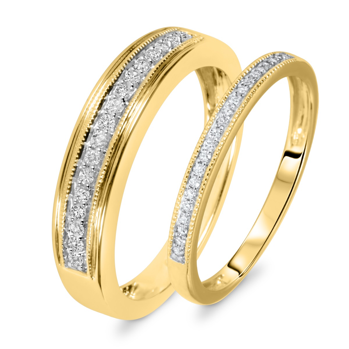 1 4 Carat TW Round Cut Diamond His And Hers Wedding Band Set 14K Yellow Gold
