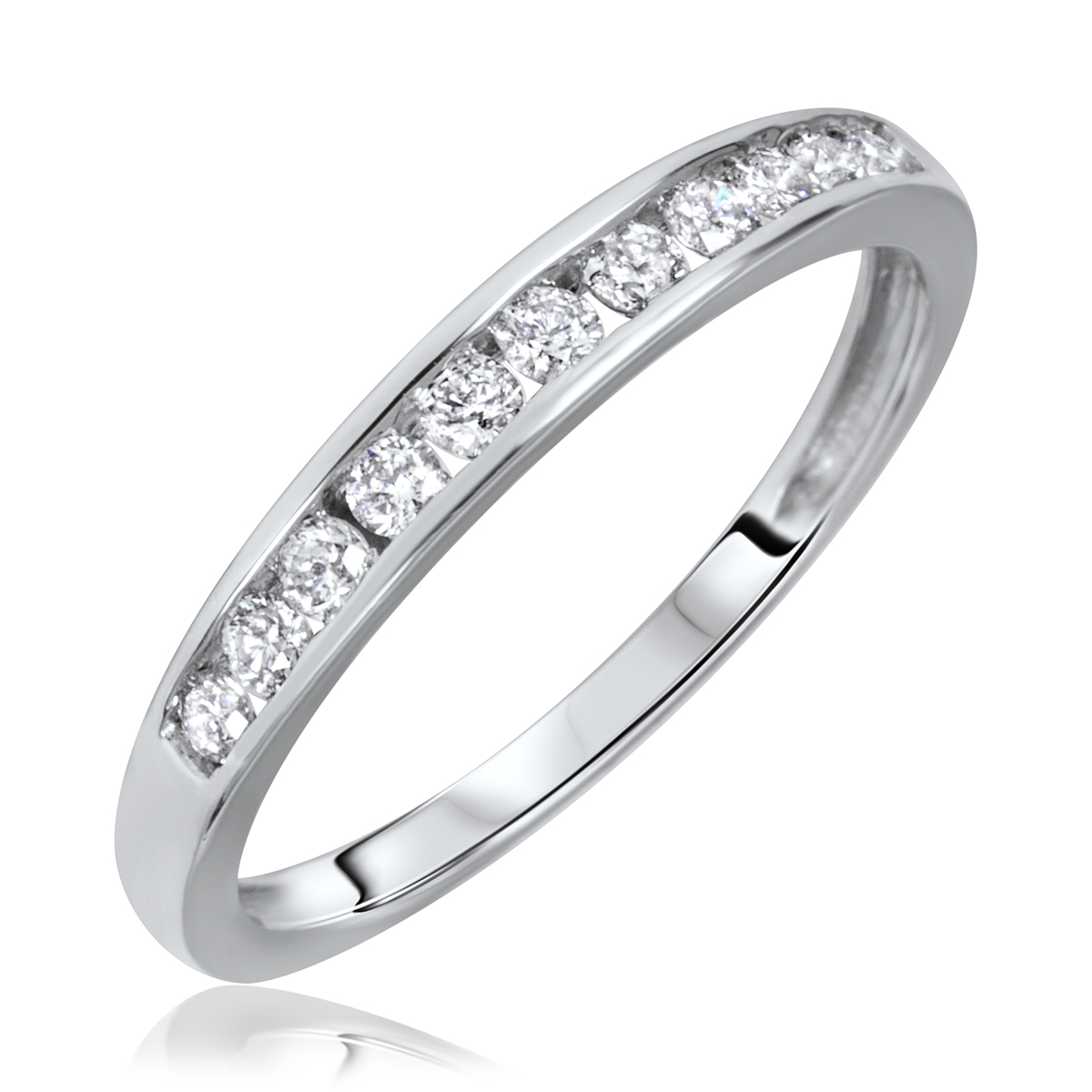1 2 Carat T W Round Cut Diamond His And Hers Wedding Band Set 10K White Gold