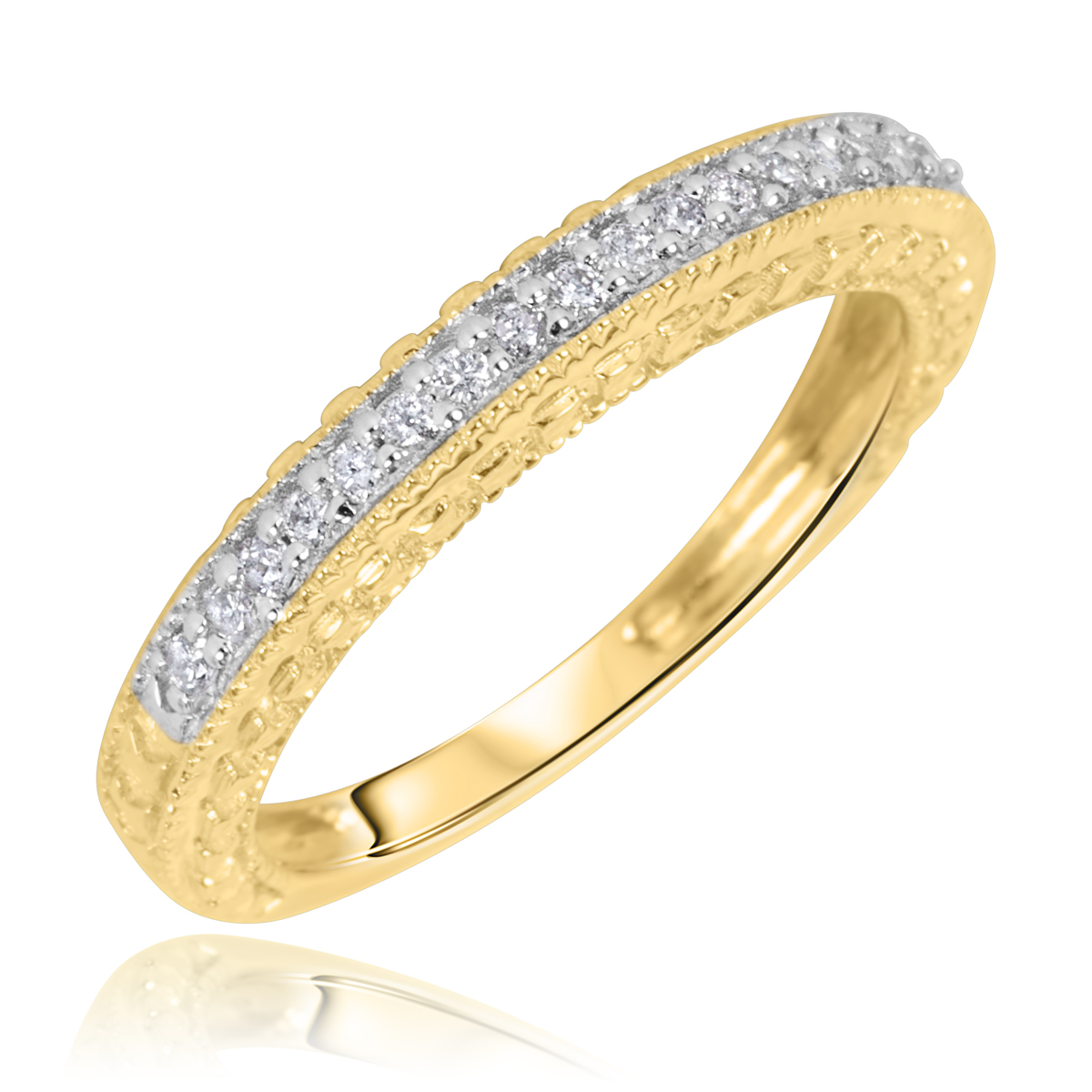 1 carat trio wedding ring set 14k yellow gold my