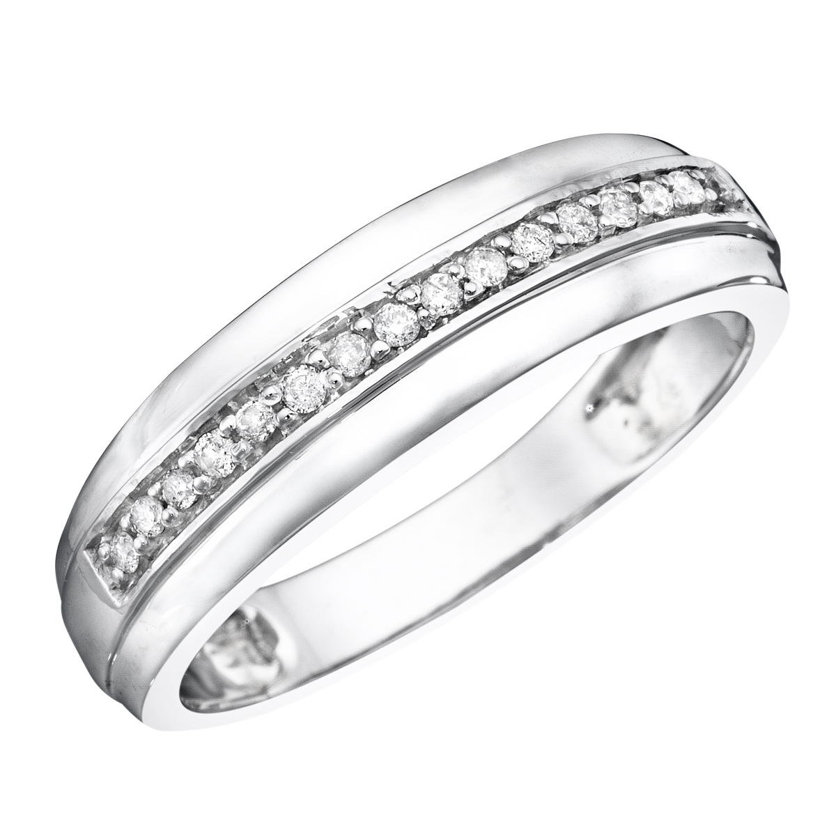 15 CT TW Diamond Mens Wedding Band 14K White Gold My Trio