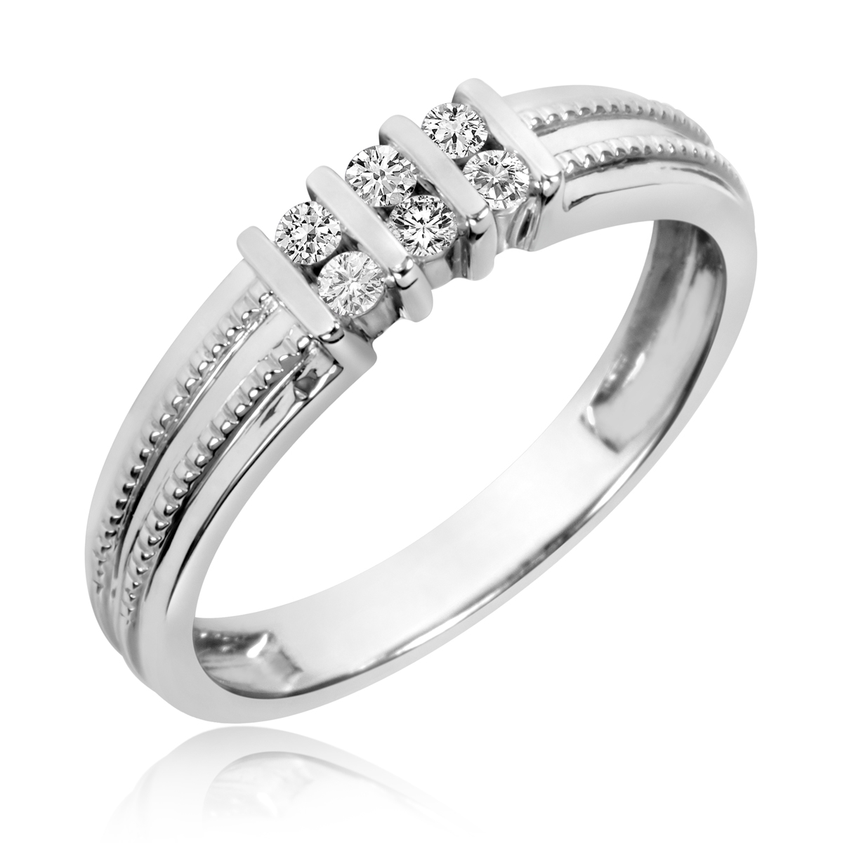 1 5 CT TW Diamond Mens Wedding Band 10K White Gold