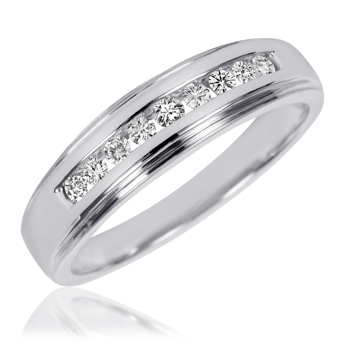 3 8 carat tw diamond his and hers wedding band set 10k for Mens wedding rings with diamonds white gold