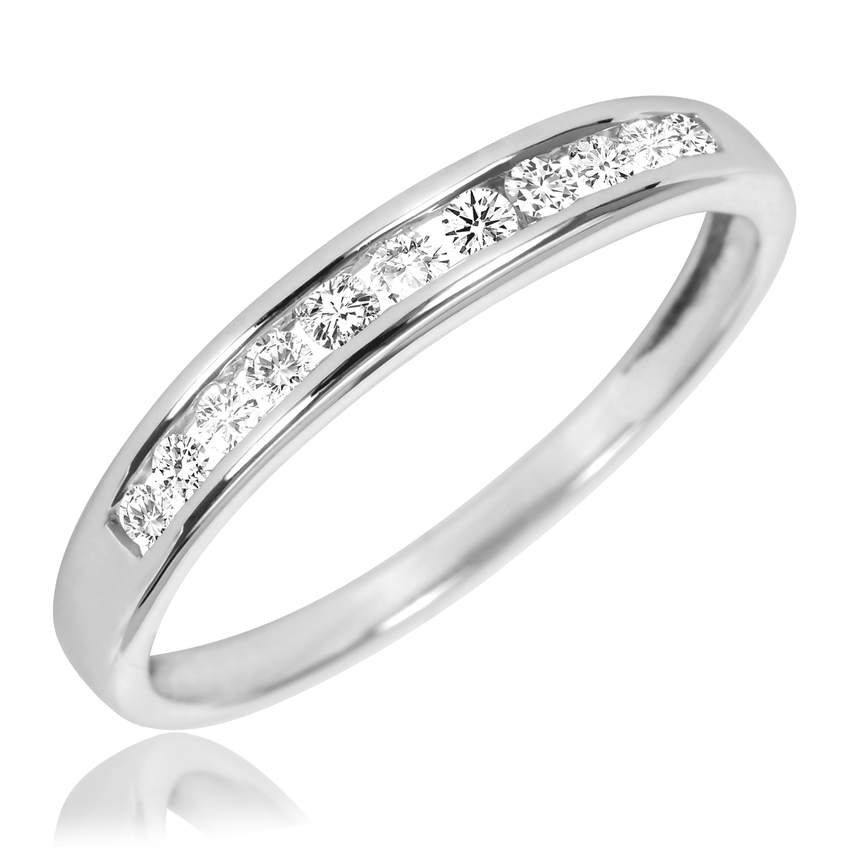 tw diamond womens bridal wedding ring set 10k white gold my trio rings br500w10k - Wedding Ring Set For Her