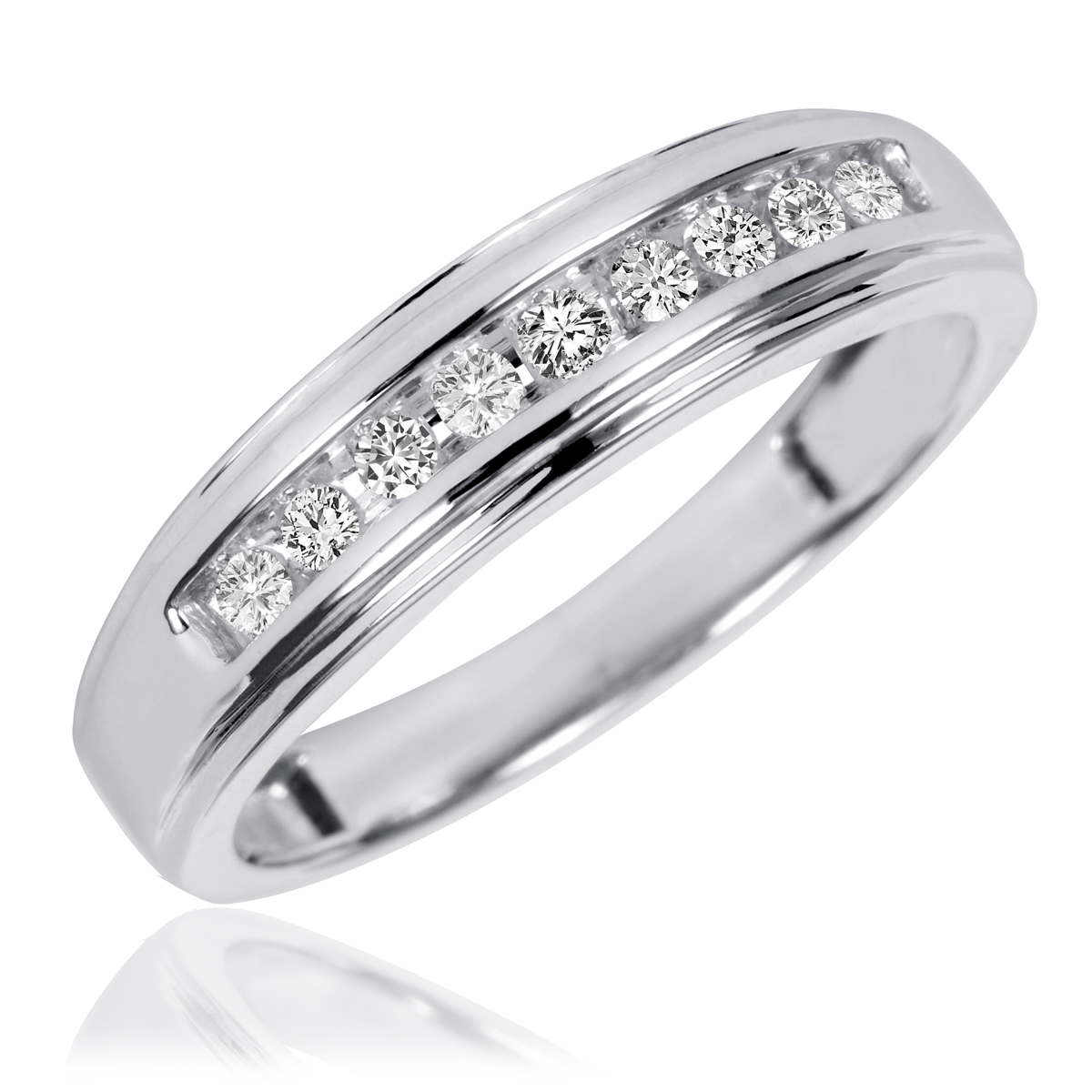 1 Carat TW Diamond Trio Matching Wedding Ring Set 10K White Gold