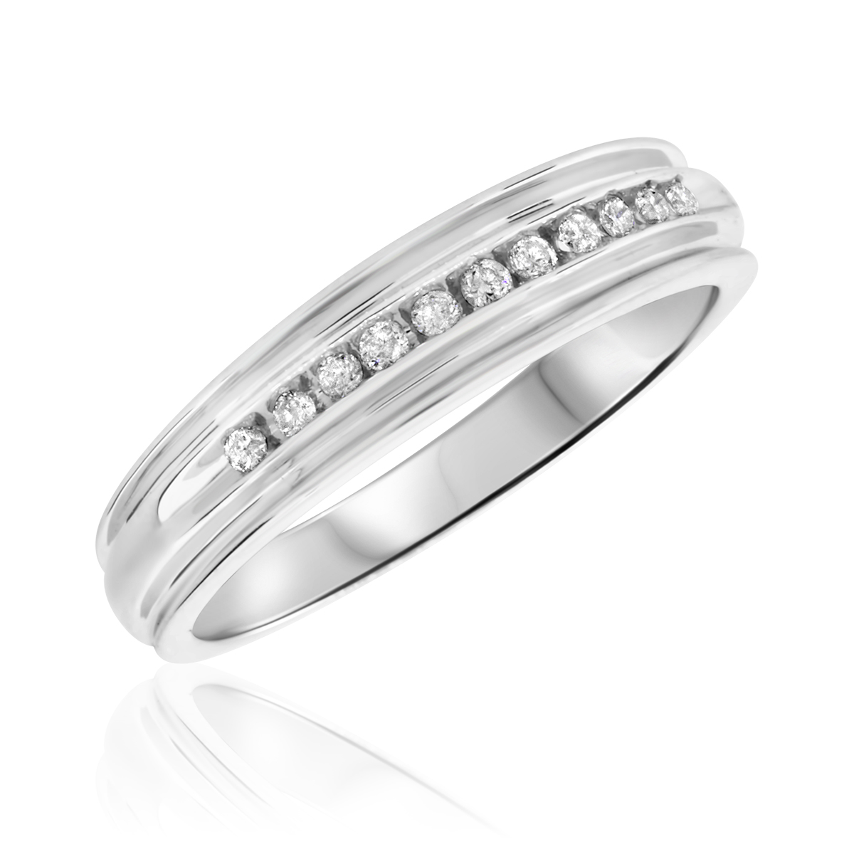 1 5 Carat TW Diamond Mens Wedding Band 10K White Gold