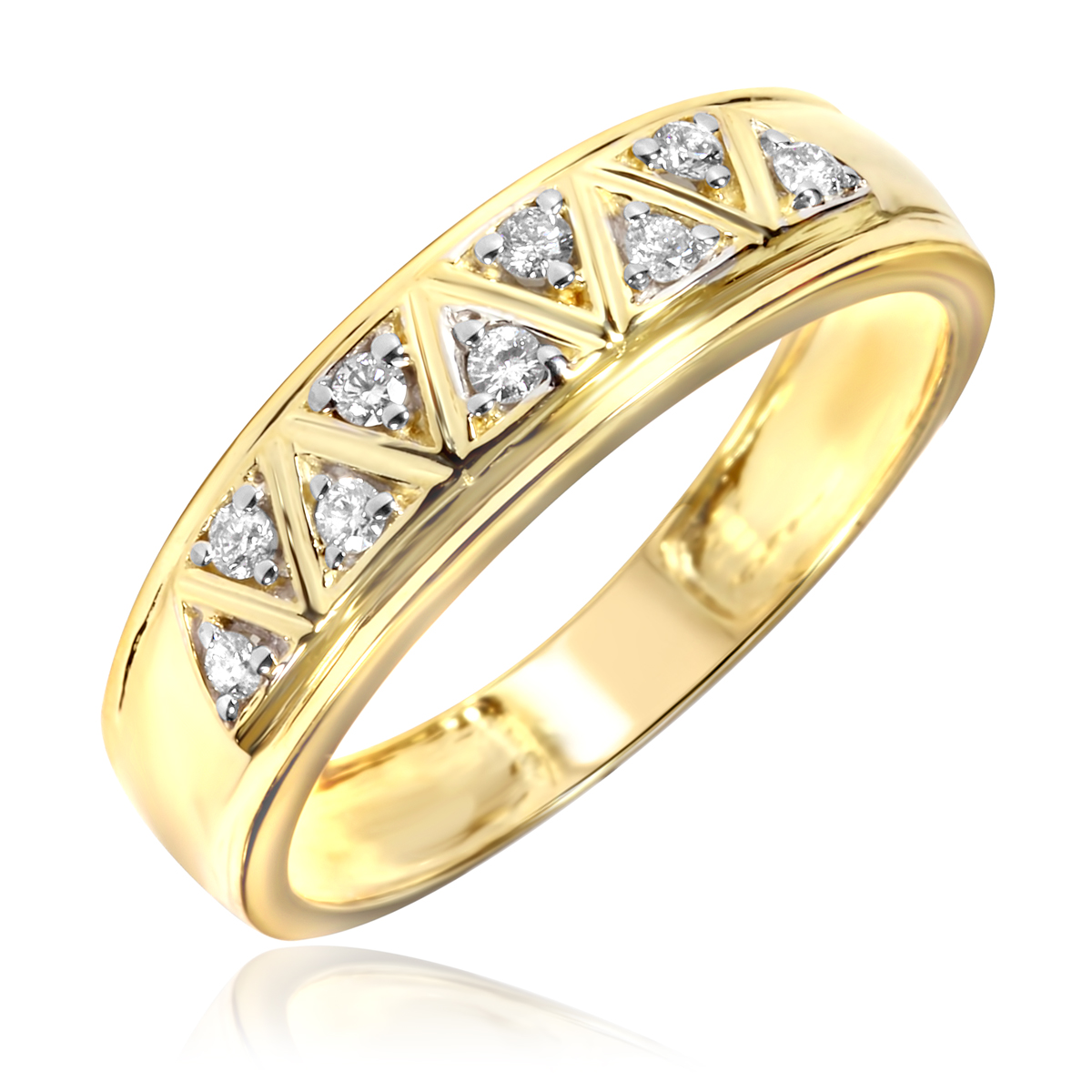 1 5 carat t w diamond men 39 s wedding ring 10k yellow gold for Men s 1 carat diamond wedding bands