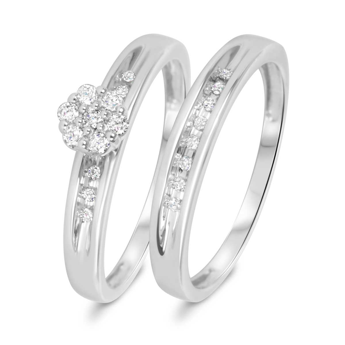 15 carat tw diamond womens bridal wedding ring set 10k white gold my trio rings br506w10k - Gold Wedding Ring Sets