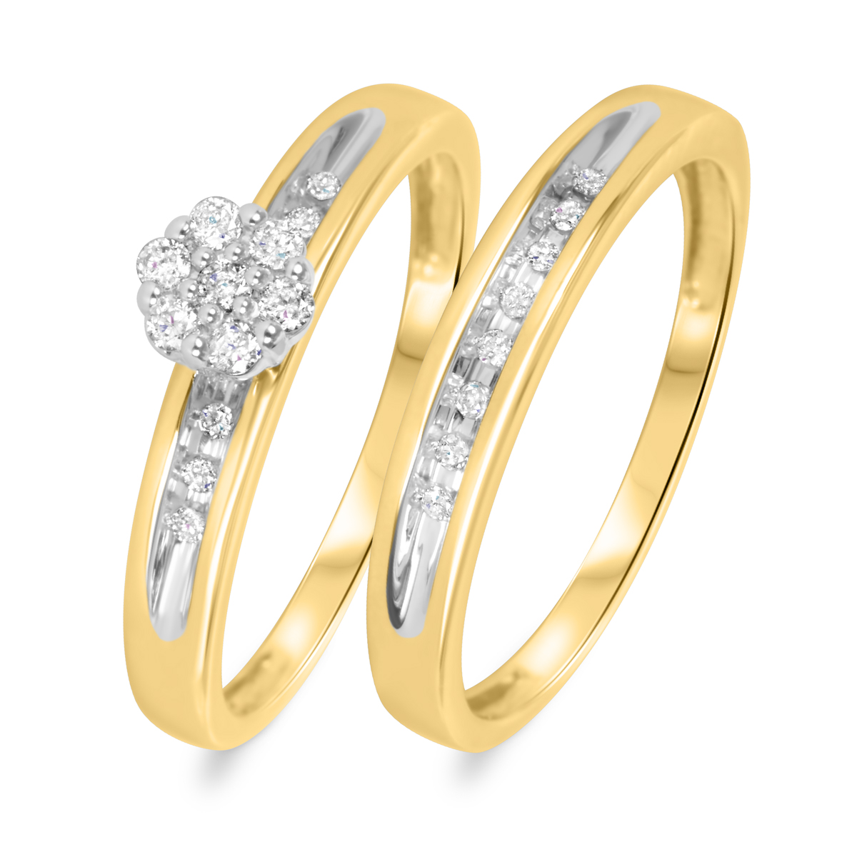 carat t w diamond women 39 s bridal wedding ring set 10k yellow gold
