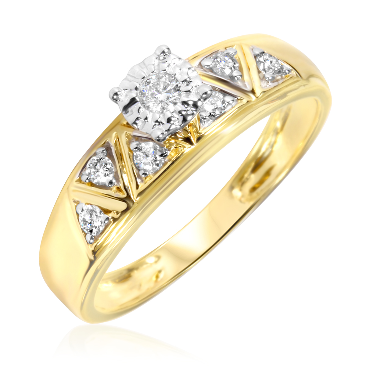1 5 Carat T W Diamond Women s Engagement Ring 14K Yellow Gold