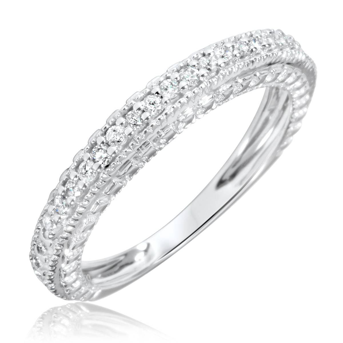 Women39;s Wedding Ring 10K White Gold  My Trio Rings  BT109W10KL