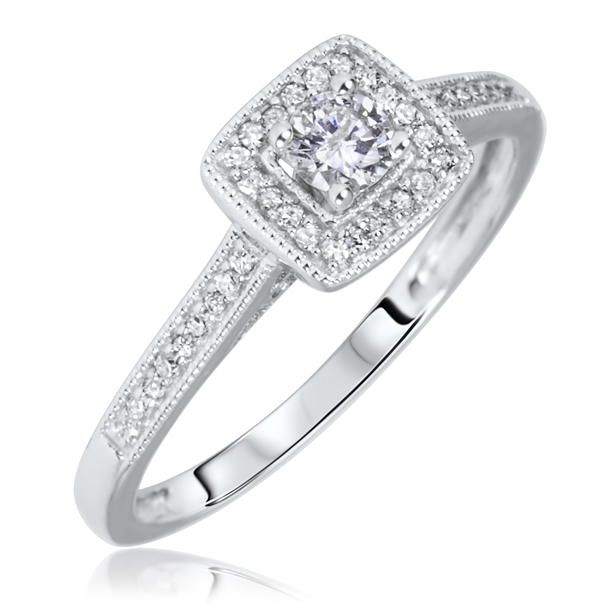 5 Carat Tw Round Cut Diamond Ladies Engagement Ring 10k White Gold  My  Trio Rings  Bt572w10ke