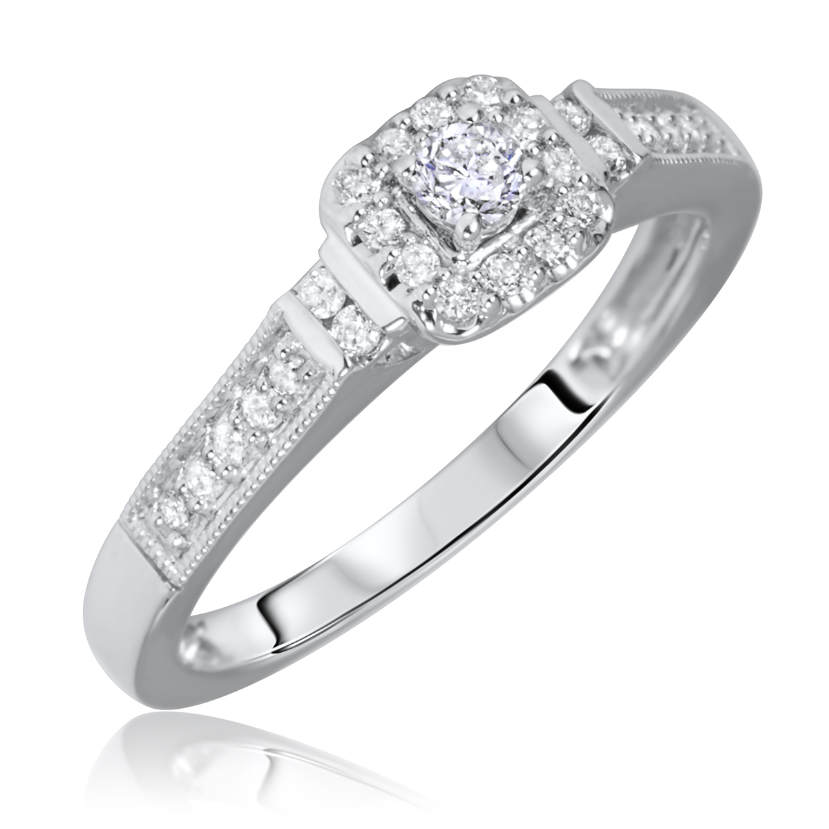 1 5 Carat T W Solitaire Rounds Cut Diamond Engagement Ring 10K White Gold