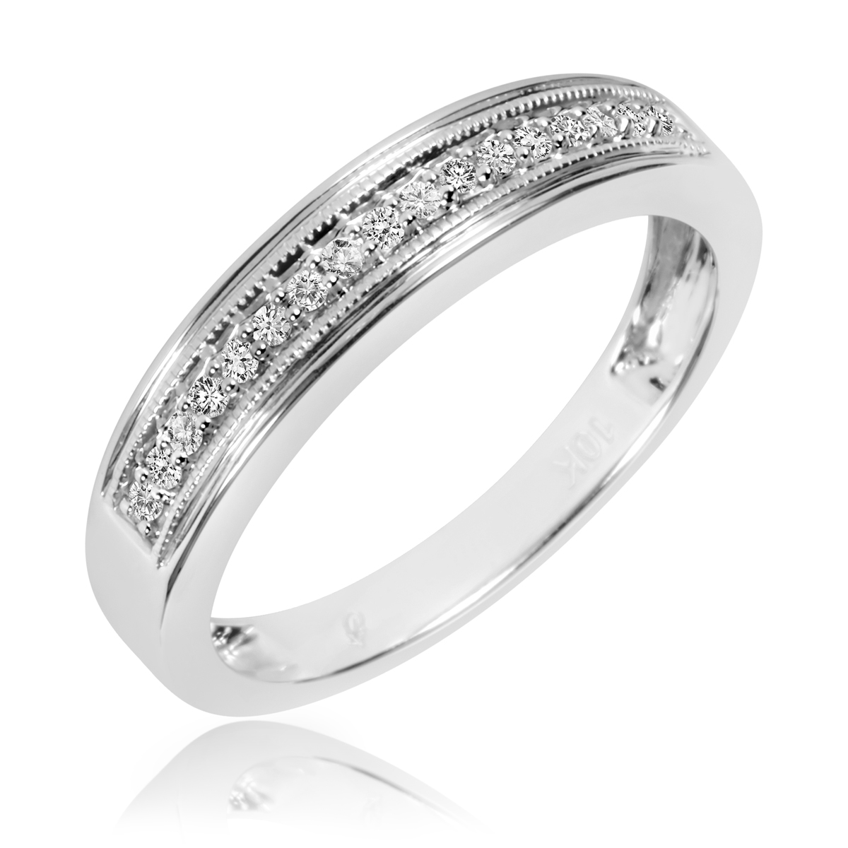 1 6 Carat TW Diamond Mens Wedding Band 10K White Gold