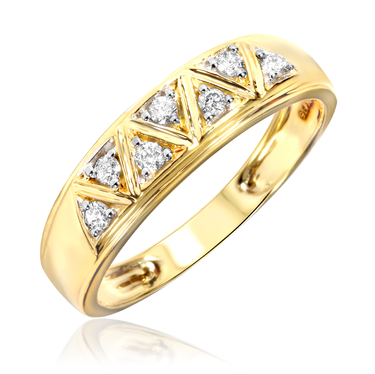 1/6 Carat T.W. Diamond Women's Wedding Ring 10K Yellow ...