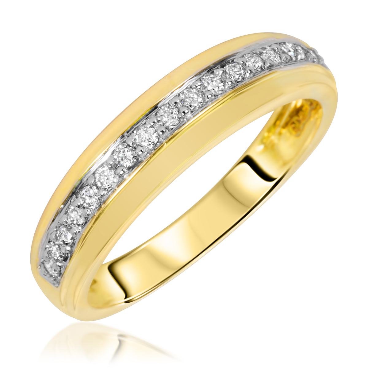 13 carat tw diamond matching wedding rings set 10k yellow gold my trio rings wb114y10k