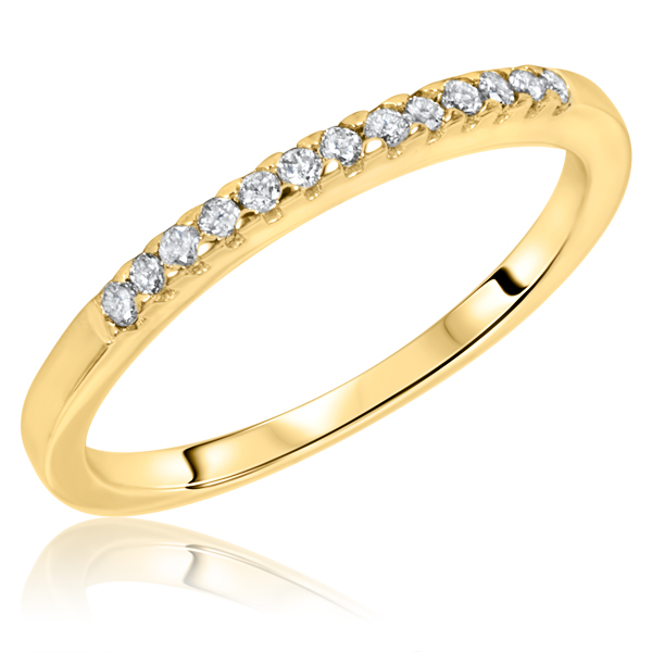 1 8 CT T W Diamond Women s Wedding Band 10K Yellow Gold