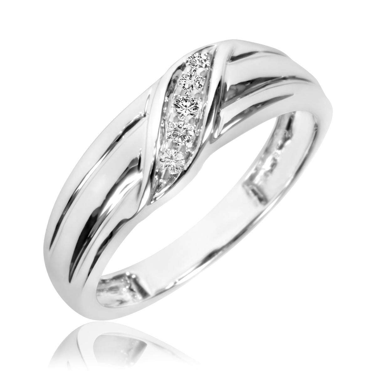 1 8 Carat TW Diamond Mens Wedding Band 14K White Gold