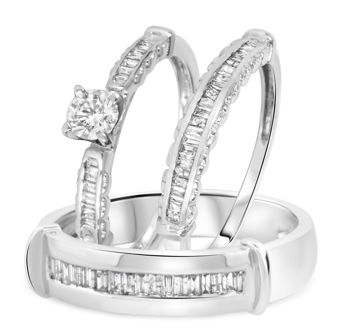 1 ct tw diamond ladies engagement ring wedding band for Ladies diamond wedding ring sets