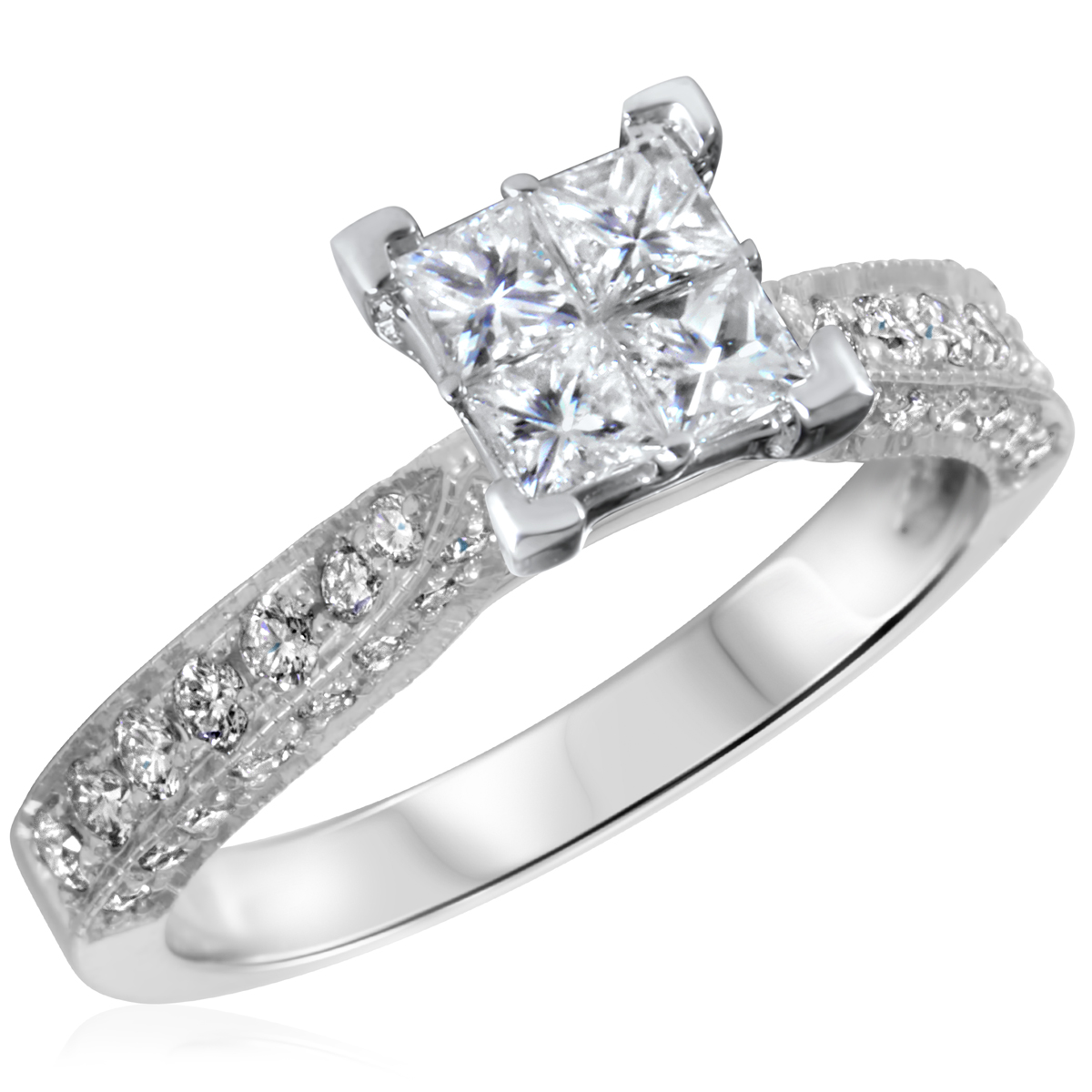 1 ct t w engagement ring 10k white gold