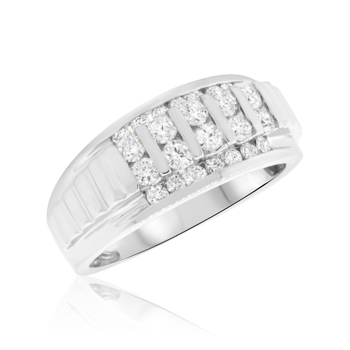 1 CT TW Diamond Mens Wedding Band 10K White Gold