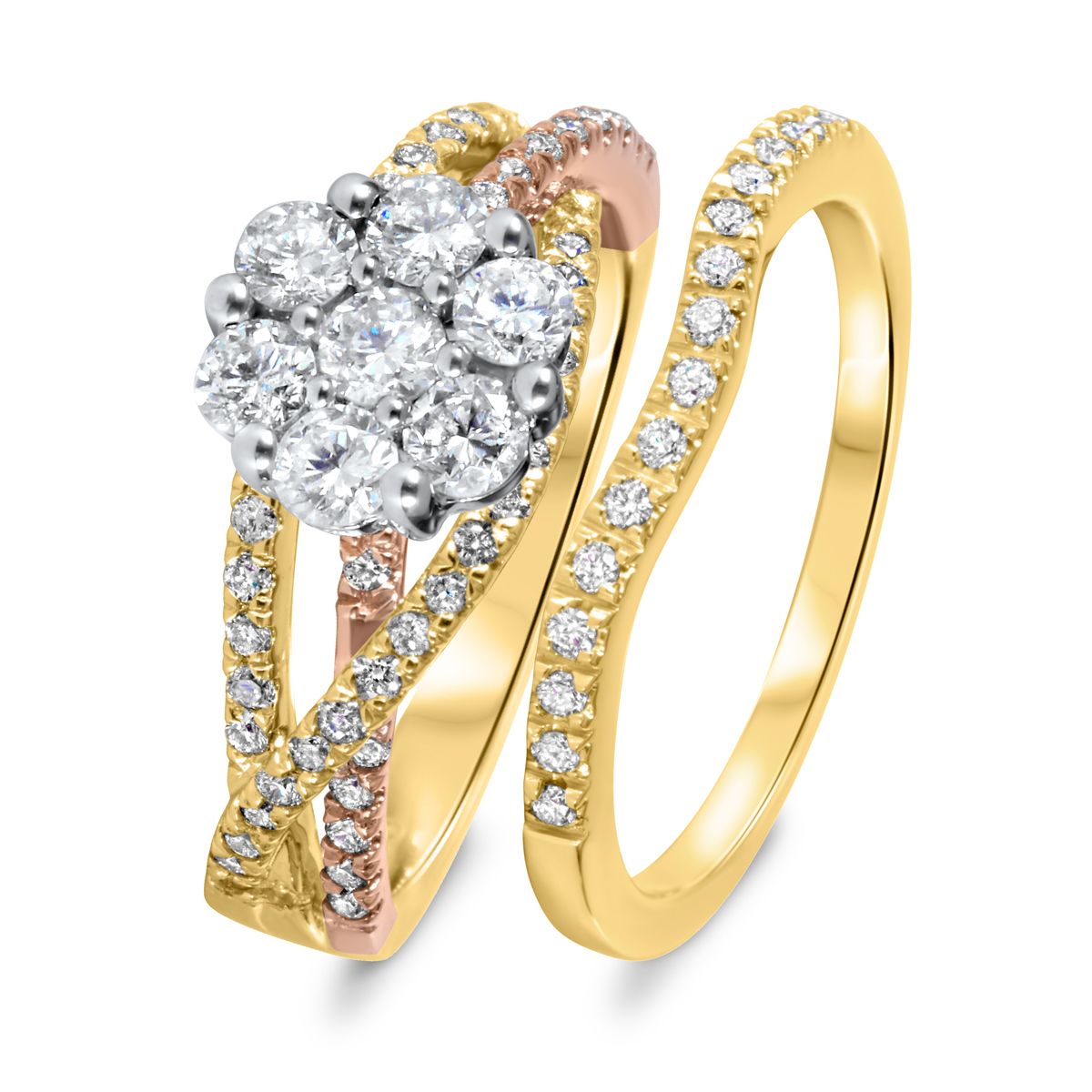 1 CT T W Diamond Women s Bridal Wedding Ring Set 10K Yellow Gold