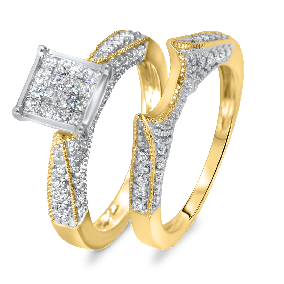 1 ct t w diamond women 39 s bridal wedding ring set 14k yellow gold my trio rings br103y14k c004. Black Bedroom Furniture Sets. Home Design Ideas